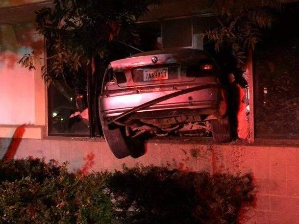 A driver allegedly attempting to outrun CHP officers in a pursuit crashed into a Santa Rosa building and fled before being arrested on Sunday, Aug. 6, 2017. (COURTESY OF SANTA ROSA FIRE BATTALION CHIEF MARK BASQUE)