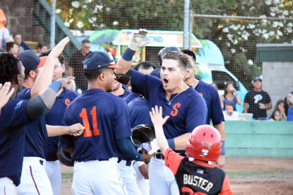 Chris Kwitzer celebrates his 2-run home run that put the Stompers up in the 3rd inning, 3-2. They were the last runs the Stompers scored in 2019, as the San Rafael Pacifics came back to win the game, the series and the league title, 5-3. (James W. Toy III / Stompers Baseball)