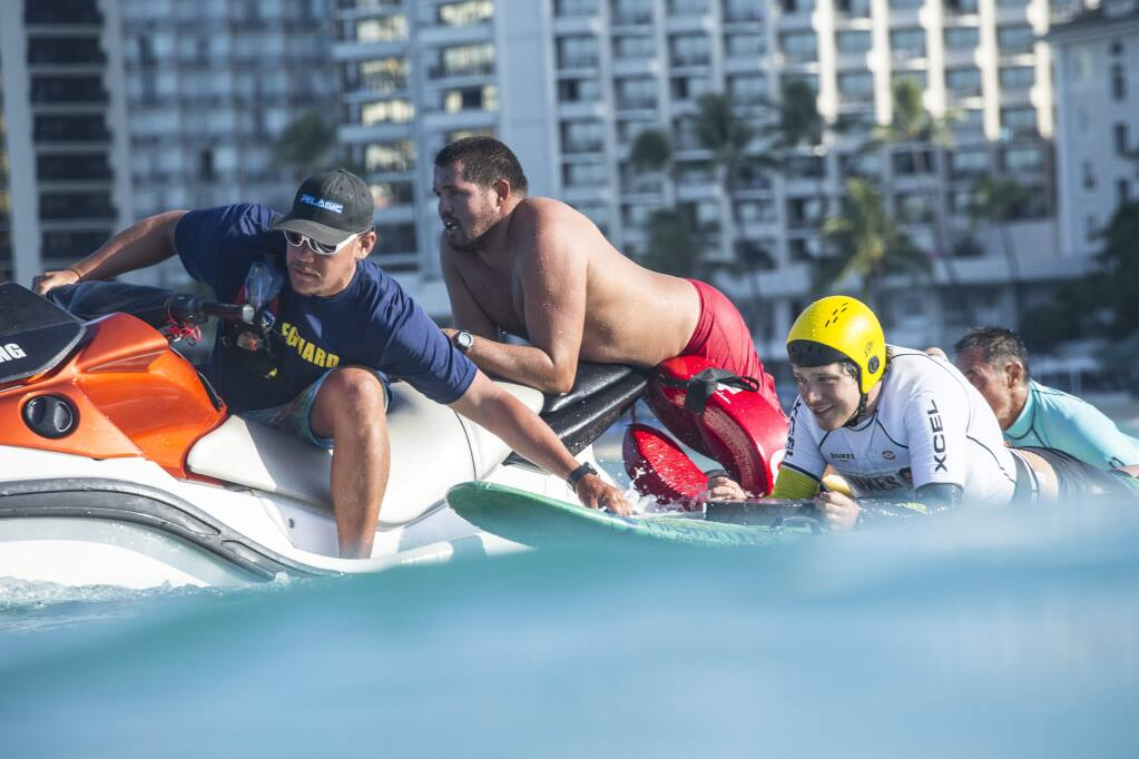 Jeff Andrews, a Santa Rosa native, competes in the 2016 Duke's OceanFest ocean sports competion in Waikiki, Honolulu, Hawaii.. (Photos by Trevor Clark)