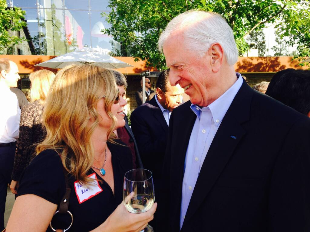 Rep. Mike Thompson with Karissa Kruse, president of Sonoma County Winegrowers, at Sunday's celebration. (Guy Kovner / The Press Democrat)