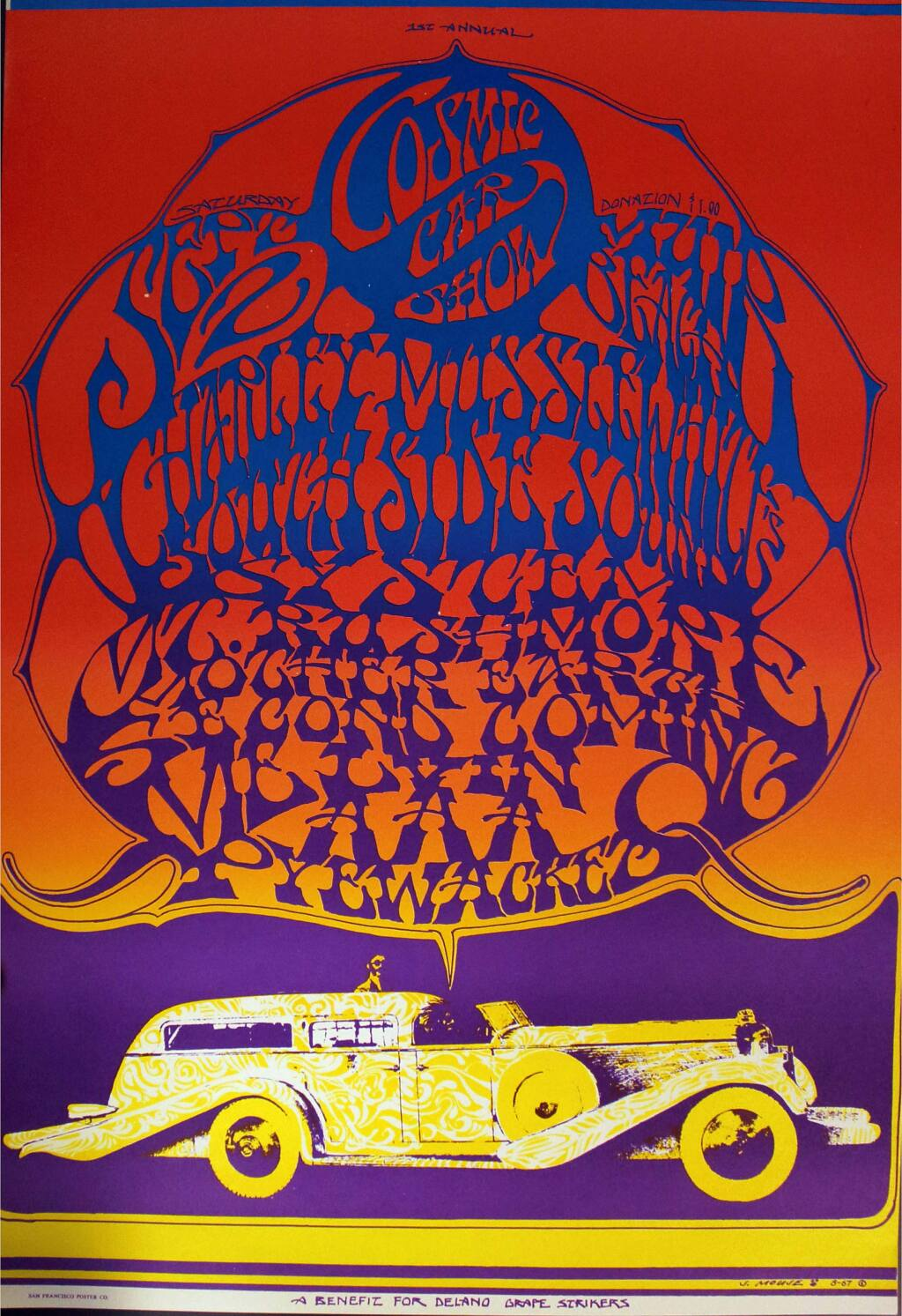 One of the classic psychedelic 1960s posters by longtime Sonoma County resident Stanley Mouse at the Museums of Sonoma County exhibit 'And the Beat Goes On.' (MUSEUMS OF SONOMA COUNTY)