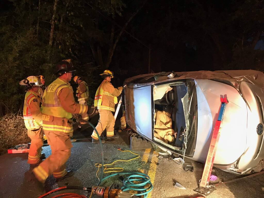 A Santa Rosa woman suspected of drunken driving was arrested Tuesday, Aug. 13, 2019, after she crashed on Occidental Road. (GRATON FIRE CHIEF BILL BULLARD)