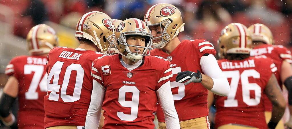 Robbie Gould of the 49ers kicked several field goals, including the game winner, during San Francisco's win over Seattle, Sunday, Dec. 16, 2018 in Santa Clara. (Kent Porter / The Press Democrat)