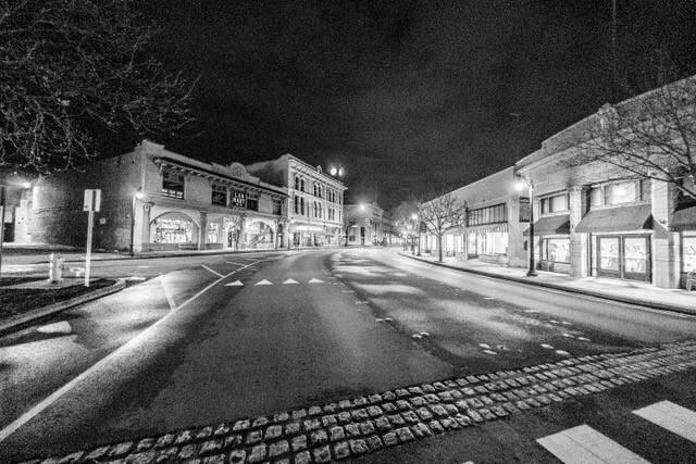 Downtown Petaluma is deserted on March 18, 2020, the first day of Sonoma County's shelter-in-place order. IRA MEINHOFER
