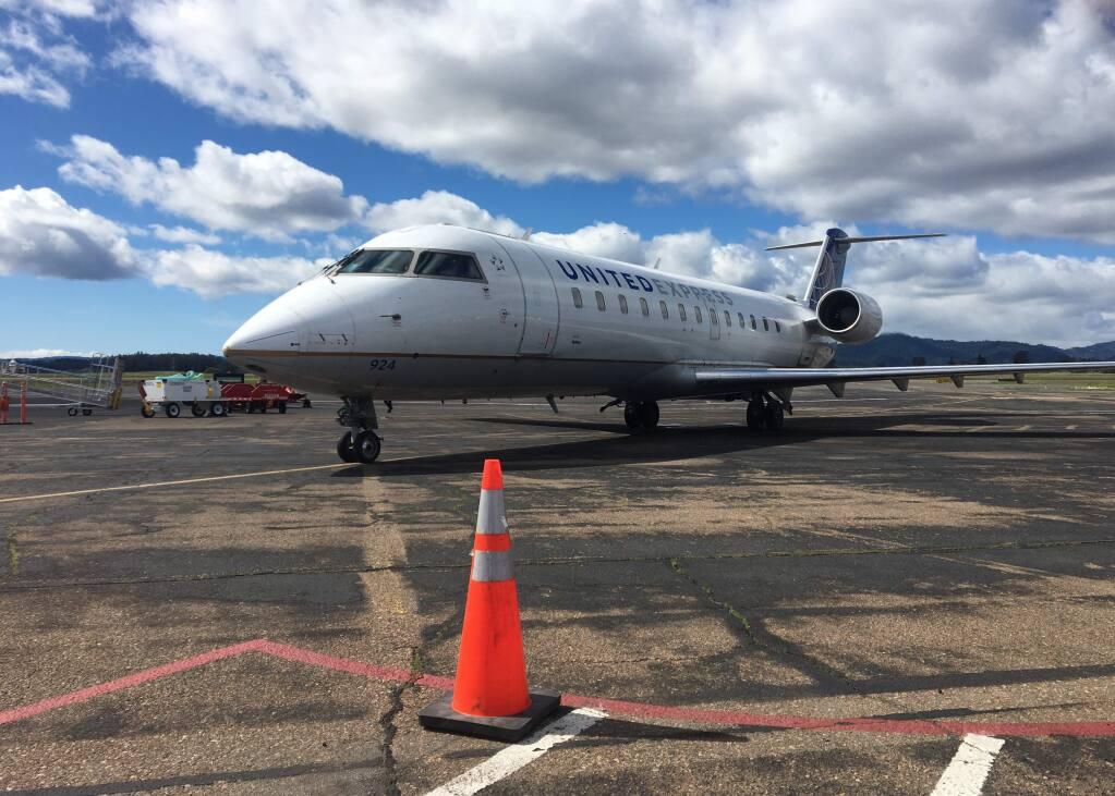 United Airlines' first roundtrip flight from Denver to Charles M. Schulz-Sonoma County Airport in Santa Rosa touched down early Friday afternoon, March 8, 2019. (KEVIN FIXLER/ PD)