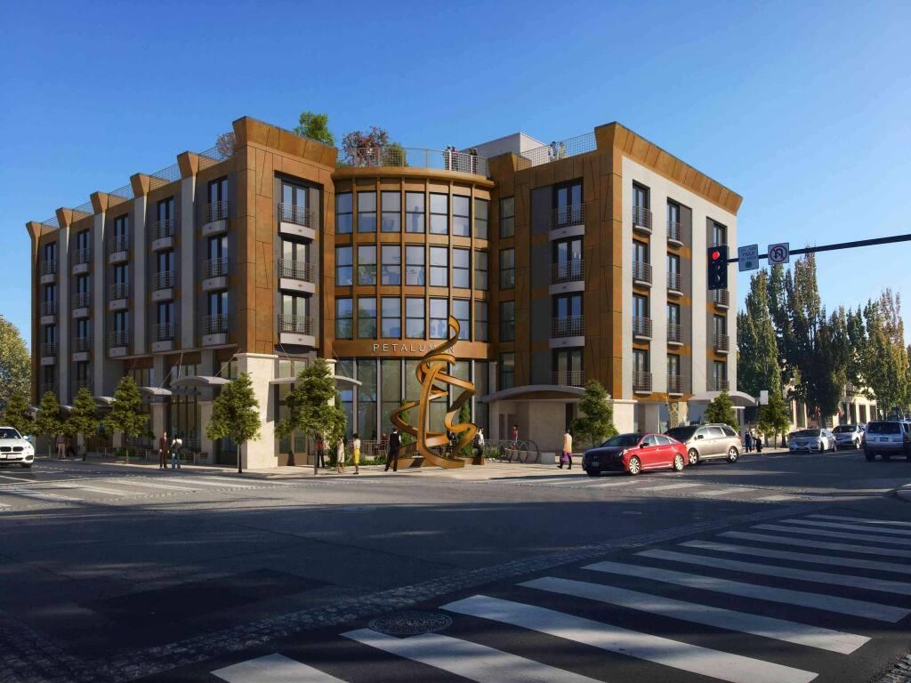A rendering of The Petaluman, a proposed five-story boutique at B Street and Petaluma Boulevard.