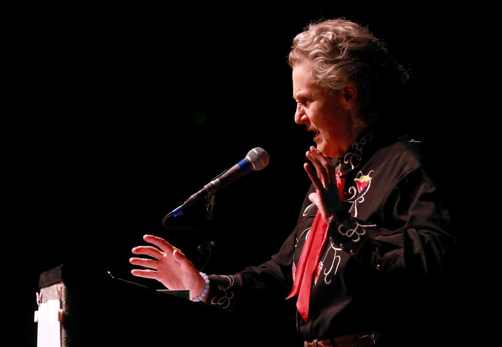 Dr. Temple Grandin was the guest speaker at the Anova one-day conference 'Autism in the Family' at the Luther Burbank Center in Santa Rosa on Saturday, February 25, 2017. Grandin spoke about growing up with autism and how to help others with different abilities. (John Burgess/The Press Democrat)