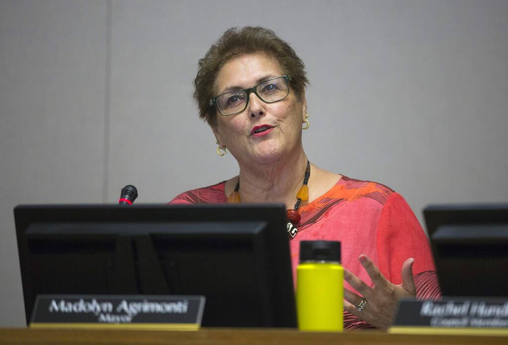 The Mayor of the City of Sonoma, Madolyn Agrimonti, contemplates the merits of a cannabis petition at the July 23 City Council meeting. (Photo by Robbi Pengelly/Index-Tribune)