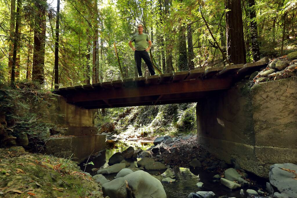 Dan Imhoff opposes plans for logging trucks to use Felta Creek Road near Healdsburg because of the impact on Felta Creek, the only reliable native coho spawning ground in the county. (JOHN BURGESS/ PD FILE, 2017)