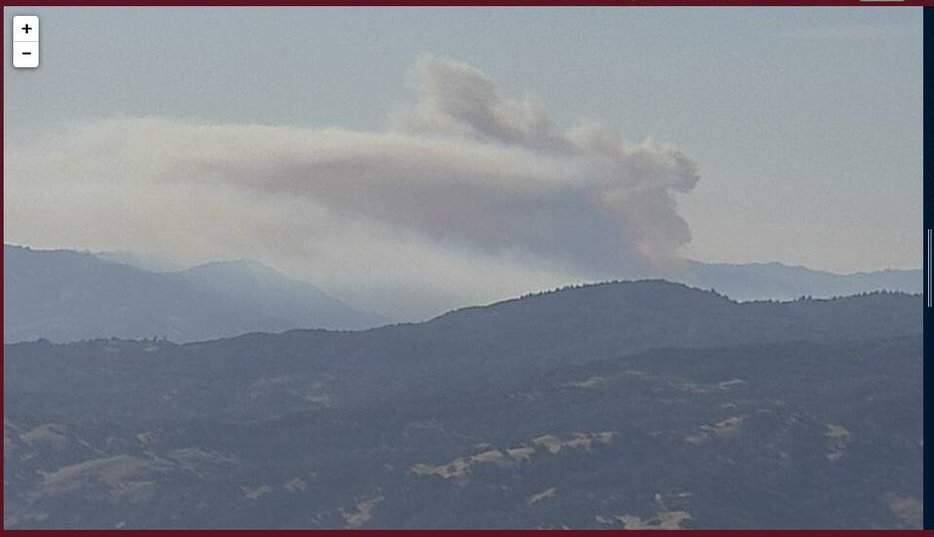 A screengrab showing smoke from a fire burning near Moose Road in southern Mendocino County on Monday, Aug. 12, 2019. The image was taken by a remote fire camera. (Alert Wildfire)