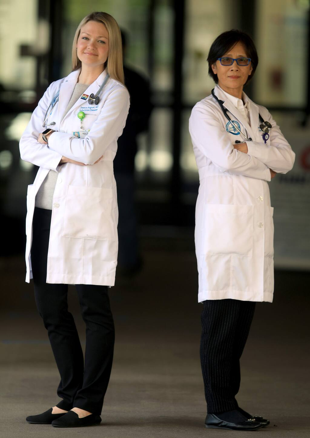 Kaiser Hospital's infectious disease specialists, Drs. Jessica August, left, and Shu Yang, Tuesday, March 31, 2020 in Santa Rosa. (Kent Porter / The Press Democrat) 2020