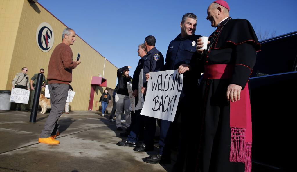 Students were welcomed back to Cardinal Newman High School in Santa Rosa on Monday, Jan.22, 2017, three months after the Tubbs fire destroyed part of the campus. (BETH SCHLANKER/ PD)