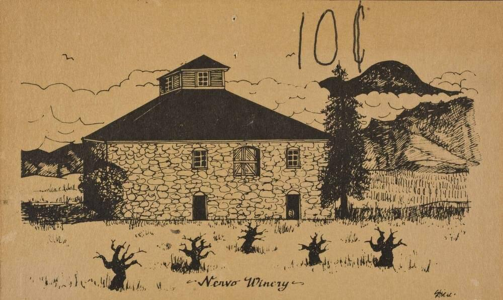 A postcard of the Frank Nervo Winery in Healdsburg. Frank Nervo Jr. constructed the iconic stone winery building located between Healdsburg and Geyserville in 1908. The Nervo family operated the business until 1972 when the property was sold to Schlitz Brewing. The Trione family bought the property in 1982 and operated it as Canyon Road Winery. They restored the building and reopened it as a tasting room in 2009. (Courtesy of the Sonoma County Library)