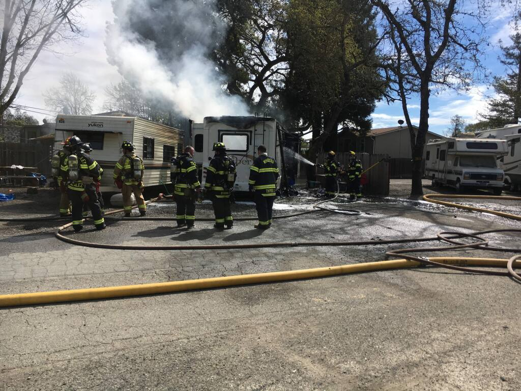 Windsor and Rincon Valley firefighters responded to a fire that destroyed a motorhome and travel trailer at the Windsor Wine Country RV Park on Conde Lane Saturday.