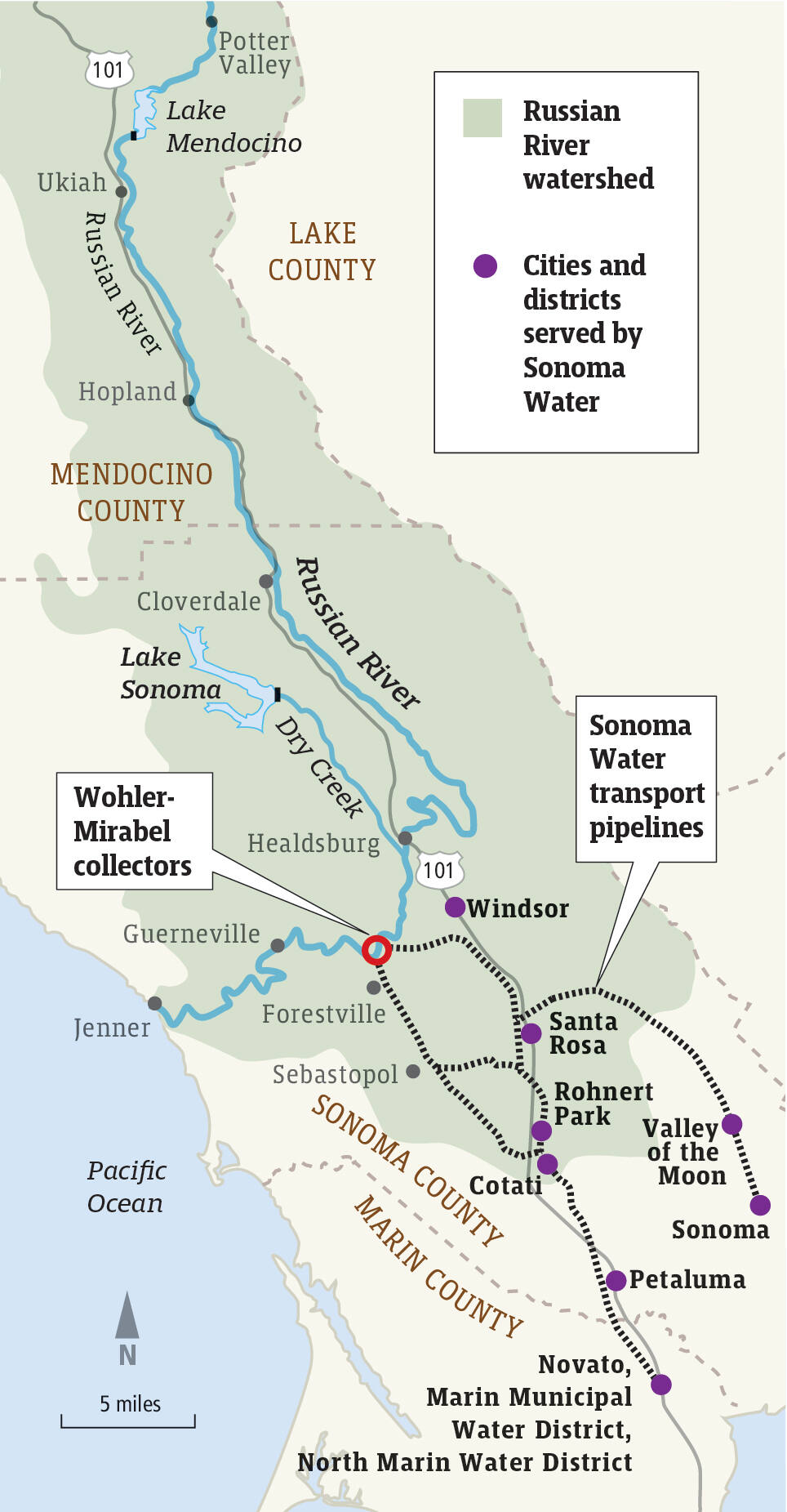 The Russian River watershed, which runs through Mendocino and Sonoma counties, supplies water to cities and towns along the river as well as to cities and districts served by the Sonoma Water. Source: Sonoma Water (Dennis Bolt / For The Press Democrat)