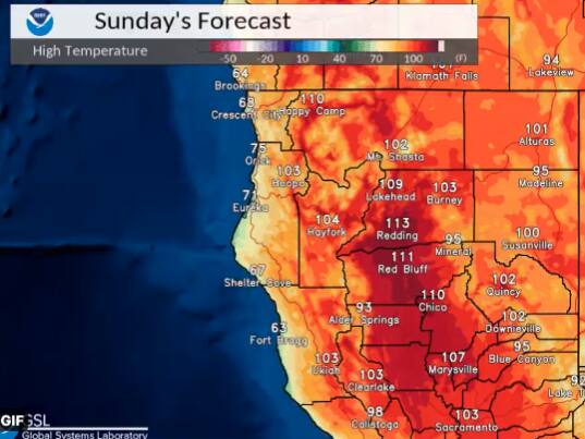 The incoming heat wave is expected to peak on Sunday, with a high of 103 degrees predicted for Clear Lake. (NWS Eureka/Twitter)