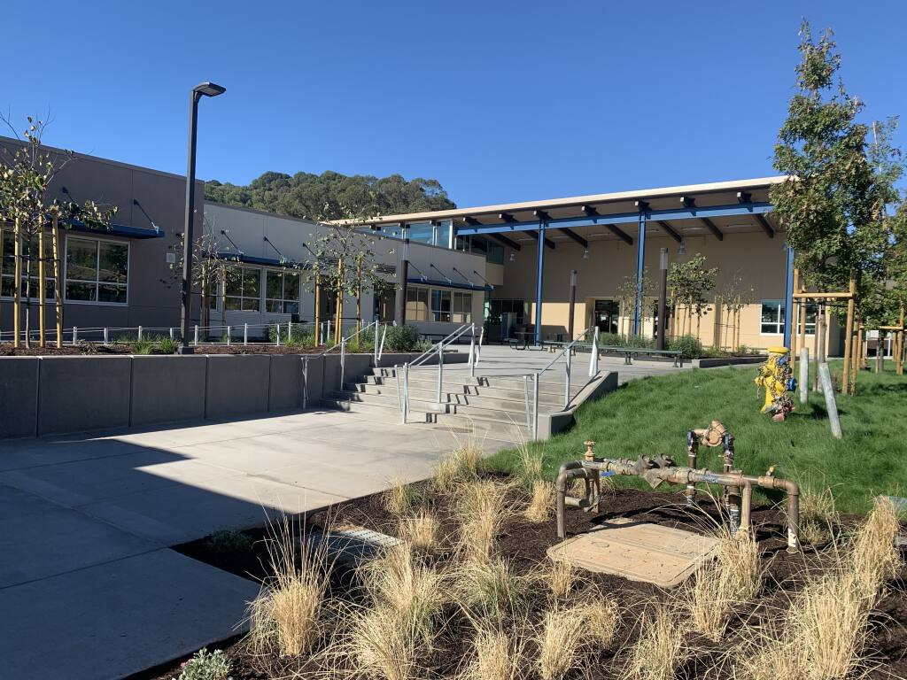 The main entrance to Novato's new STEM center at the San Marin High School, seen here on Oct. 15, 2020, leads to 10 classrooms and labs as well as student break out spaces, group study and staff support space. (Courtesy of Quattrocchi Kwok Architects)