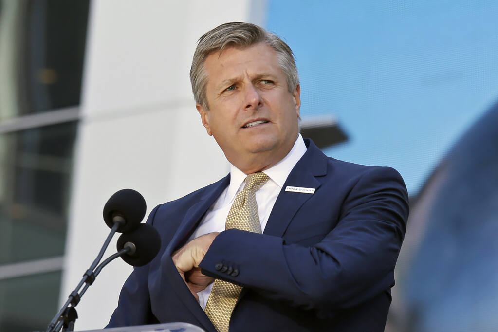 Golden State Warriors COO and President Rick Welts during the ribbon-cutting ceremony for the Chase Center on Tuesday, Sept. 3, 2019, in San Francisco. (Eric Risberg / ASSOCIATED PRESS)