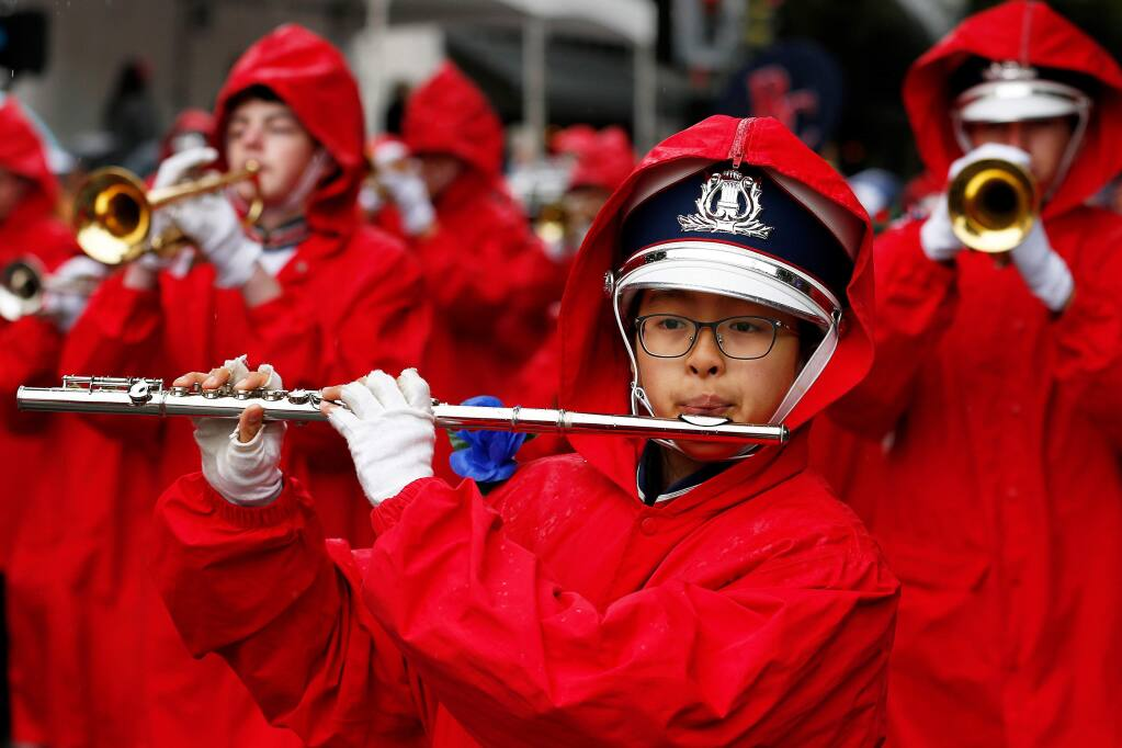 The Rancho Cotate High School marching band performs during the 125th annual Luther Burbank Rose Parade in Santa Rosa, California, on Saturday, May 18, 2019. (Alvin Jornada / The Press Democrat)