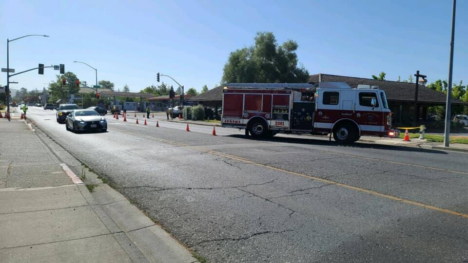 Napa Street was closed at Second Street in Sonoma because of a gas leak on Thursday, July 22, 2021. (Sonoma Valley Fire District/Facebook)