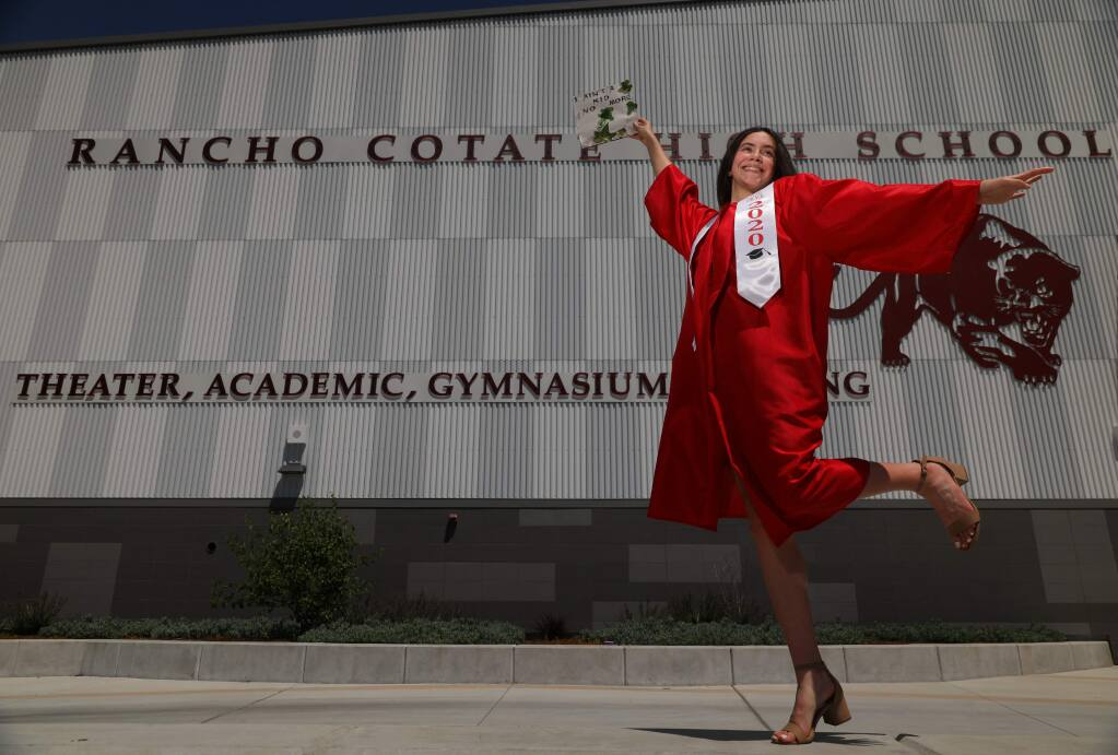 Rancho Cotate graduating senior Faith Harvey created the senior slide show portion of her school's 2020 virtual commencement video.(Christopher Chung/ The Press Democrat)