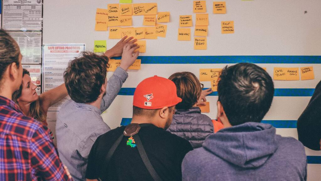 Waggl Inc. team members brainstorm on Aug. 9, 2018, in the company headquarters in Sausalito about product features for the software that helps companies and organizations build engagement and dialogue between employees and management. (Jordan Dodds photo)