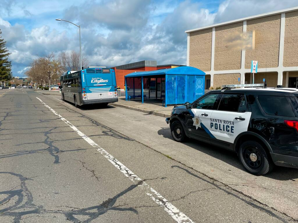 Range Avenue bus stop in Santa Rosa after a shooting on Sunday, Feb. 15, 2021. (Santa Rosa Police Department)