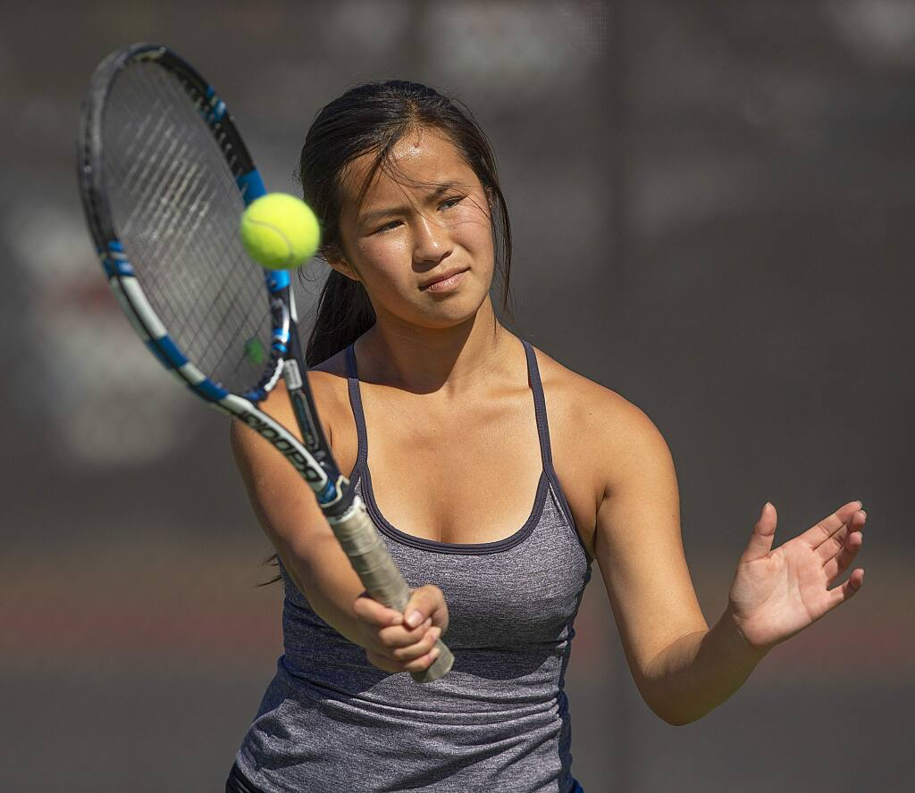 Sophia Nguyen leads the Maria Carrillo girls tennis team. (John Burgess / The Press Democrat)