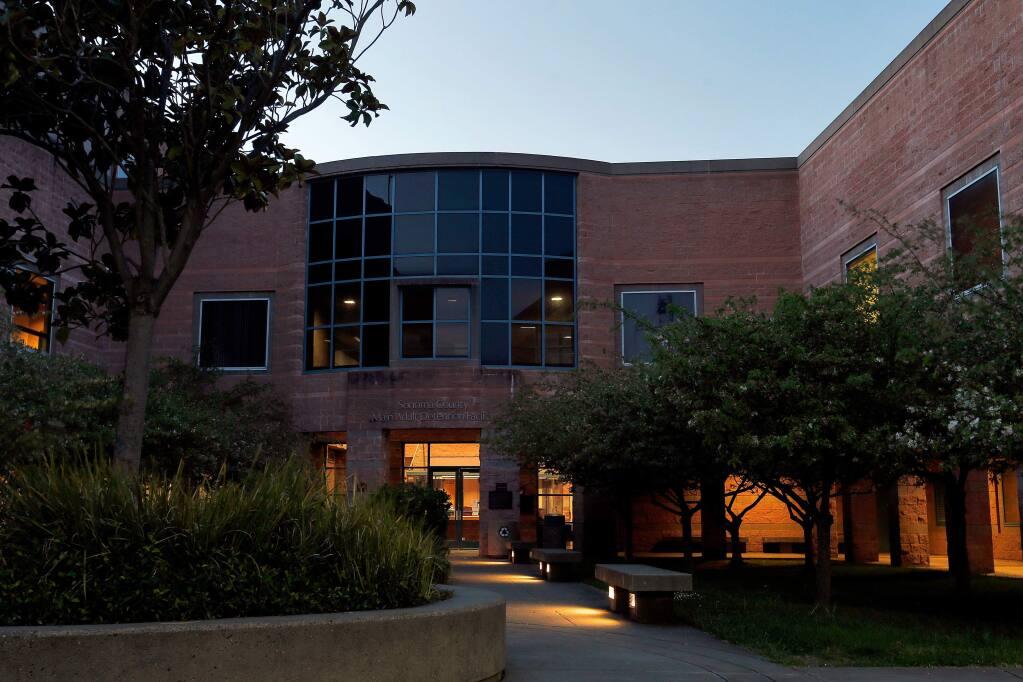 The main entrance to the Sonoma County Sheriffs Office Main Adult Detention Facility in Santa Rosa, California. (Alvin Jornada / The Press Democrat)