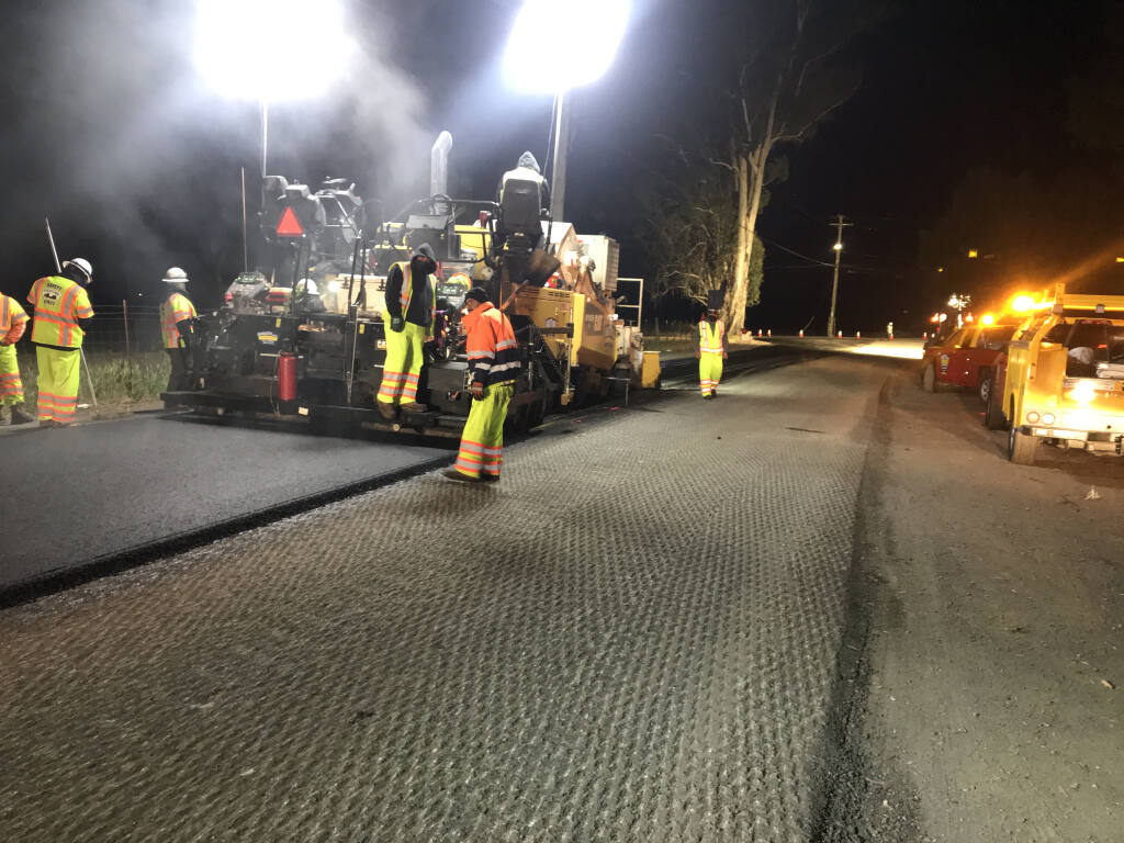 A contracted paving crew, Ghilotti Bros., worked to resurface Stage Gulch Road recently to the same standards that Caltrans will use in Sonoma, beginning May 19, 2021. (California Department of Transportation)