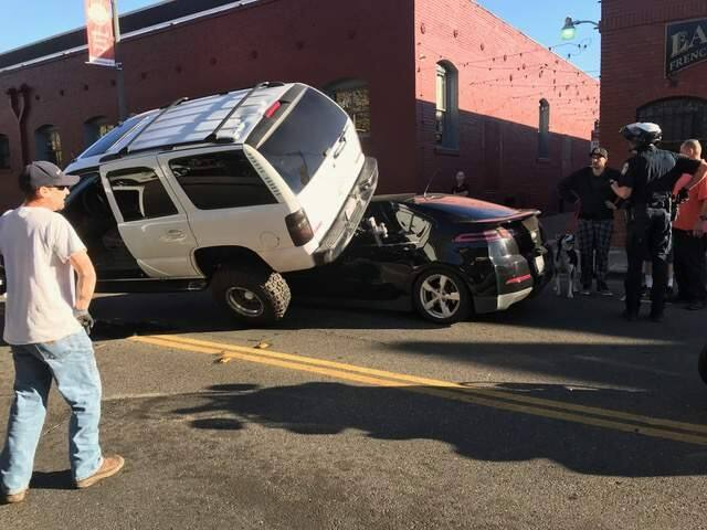 An SUV filled with marijuana collided with a sedan on West Third and Wilson streets in Santa Rosa, Wednesday, Oct. 25, 2017. (SUBMITTED PHOTO)