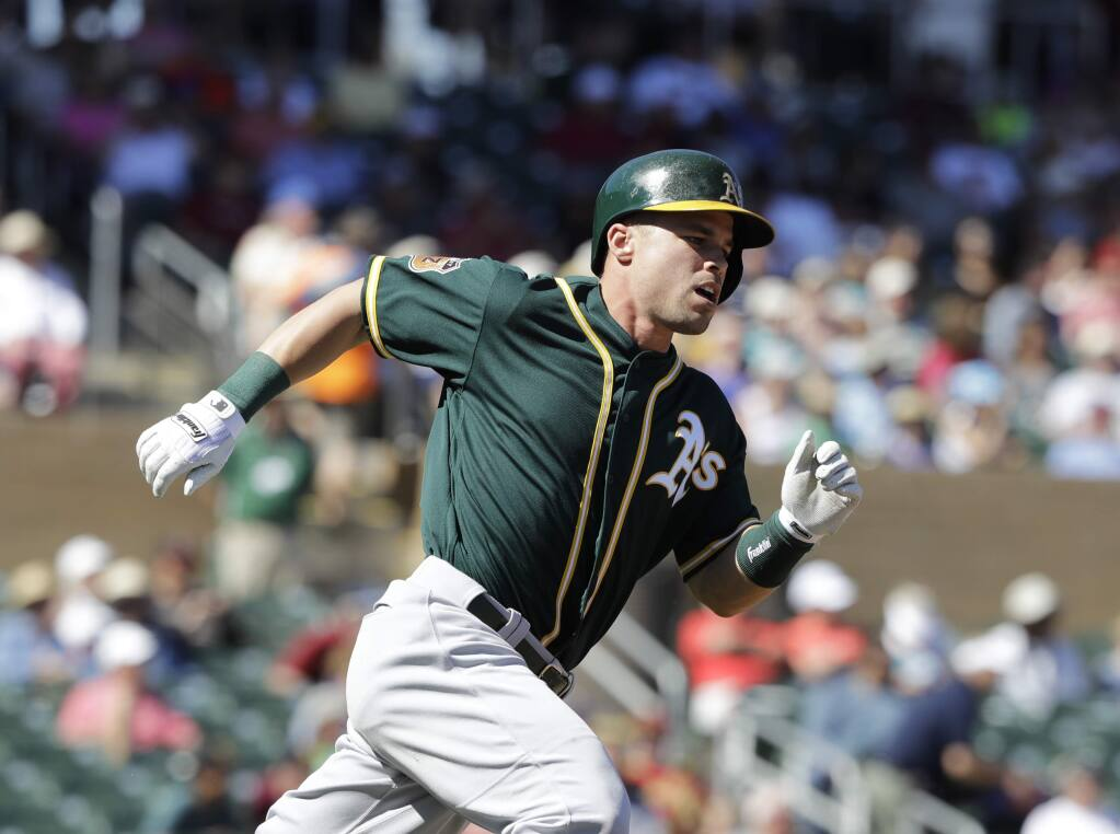 A's Jake Smolinski has surgery, will wear sling for 4 weeks