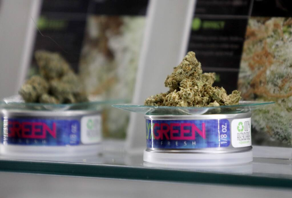 A variety of marijuana on display at Mercy Wellness cannabis dispensary in Cotati, on Thursday, December 28, 2017. (BETH SCHLANKER/ The Press Democrat)