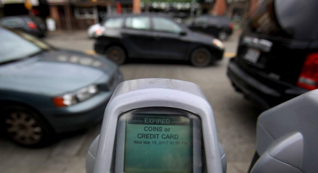 An expired parking meter in downtown along Fourth Street near B Street in Santa Rosa, Wednesday March 15, 2017. (Kent Porter / The Press Democrat) 2017