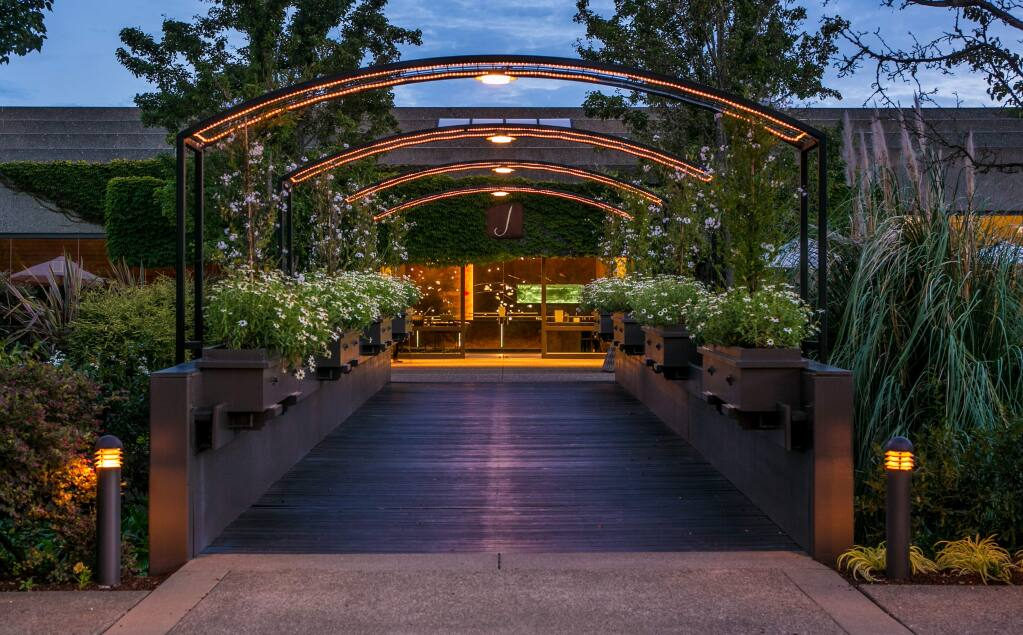 J Vineyards & Winery's vine-covered Russian River Valley production facility with its 'Bubble Room' and other hospitality suites is part of the sale deal to E&J Gallo. (courtesy of J Vineyards & Winery)
