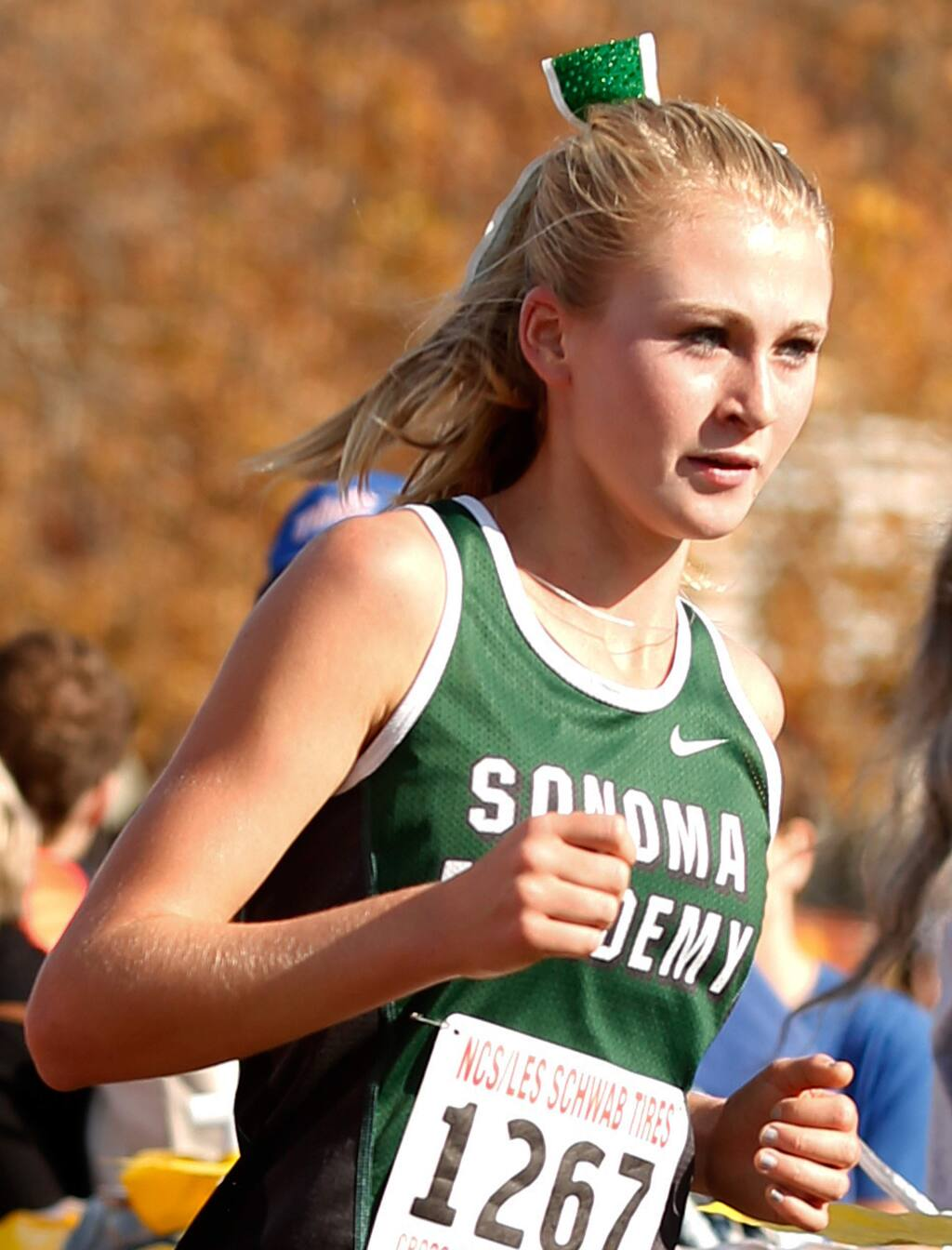 Sonoma Academy's Rylee Bowen runs in the Division V girls race during the NCS Cross Country championship in Hayward, California on Saturday, November 21, 2015. (Alvin Jornada / The Press Democrat)