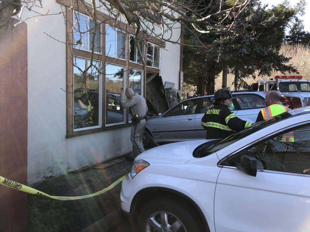 A car crashed into the Wild Flour Bread in Freestone on Sunday, Jan. 28, 2018. (COURTESY OF JEREMY WAEN)