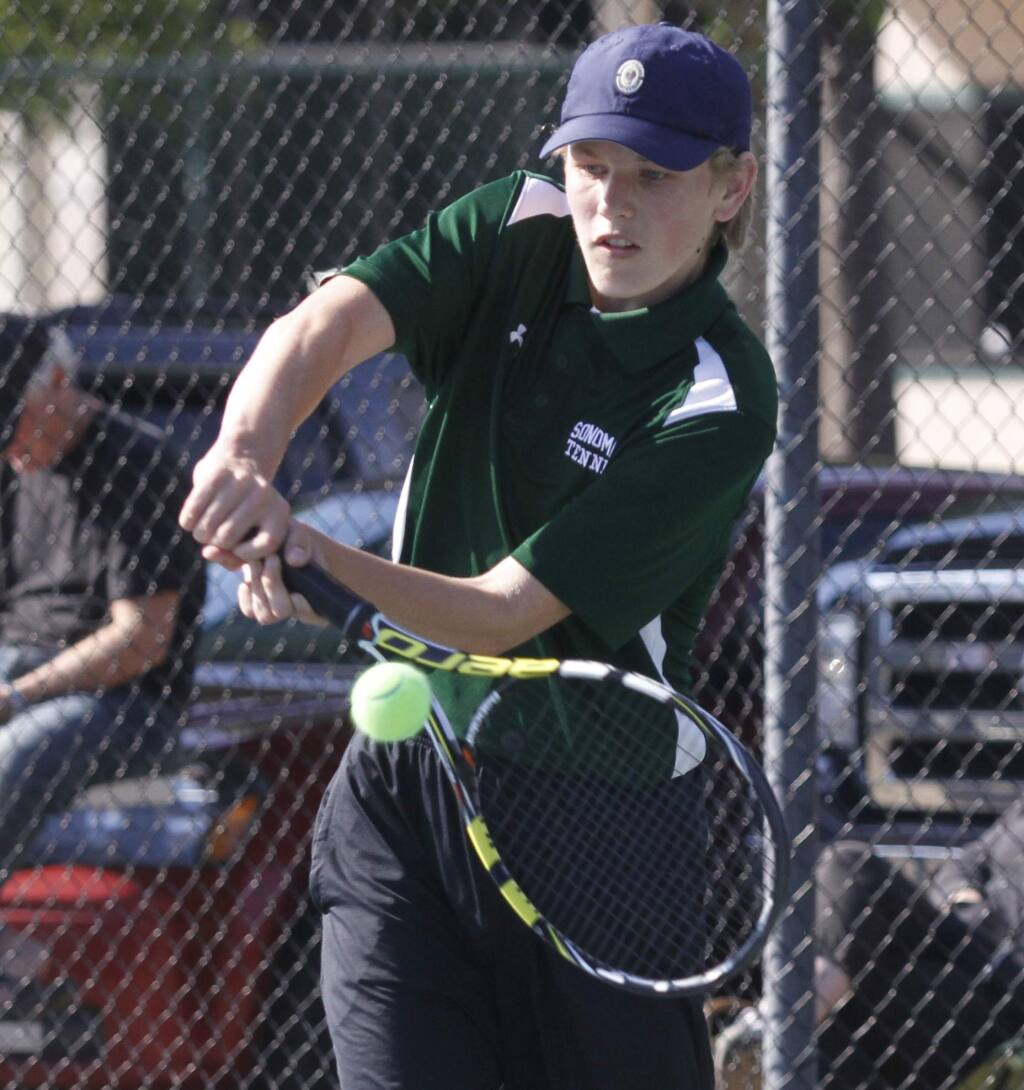 Bill Hoban/Index-Tribune file photoSonoma's Erik Serbicki returns a volley during a match in 2017. Serbicki was one of the winners last week as the Dragons beat Healdsburg in their season-opening match.