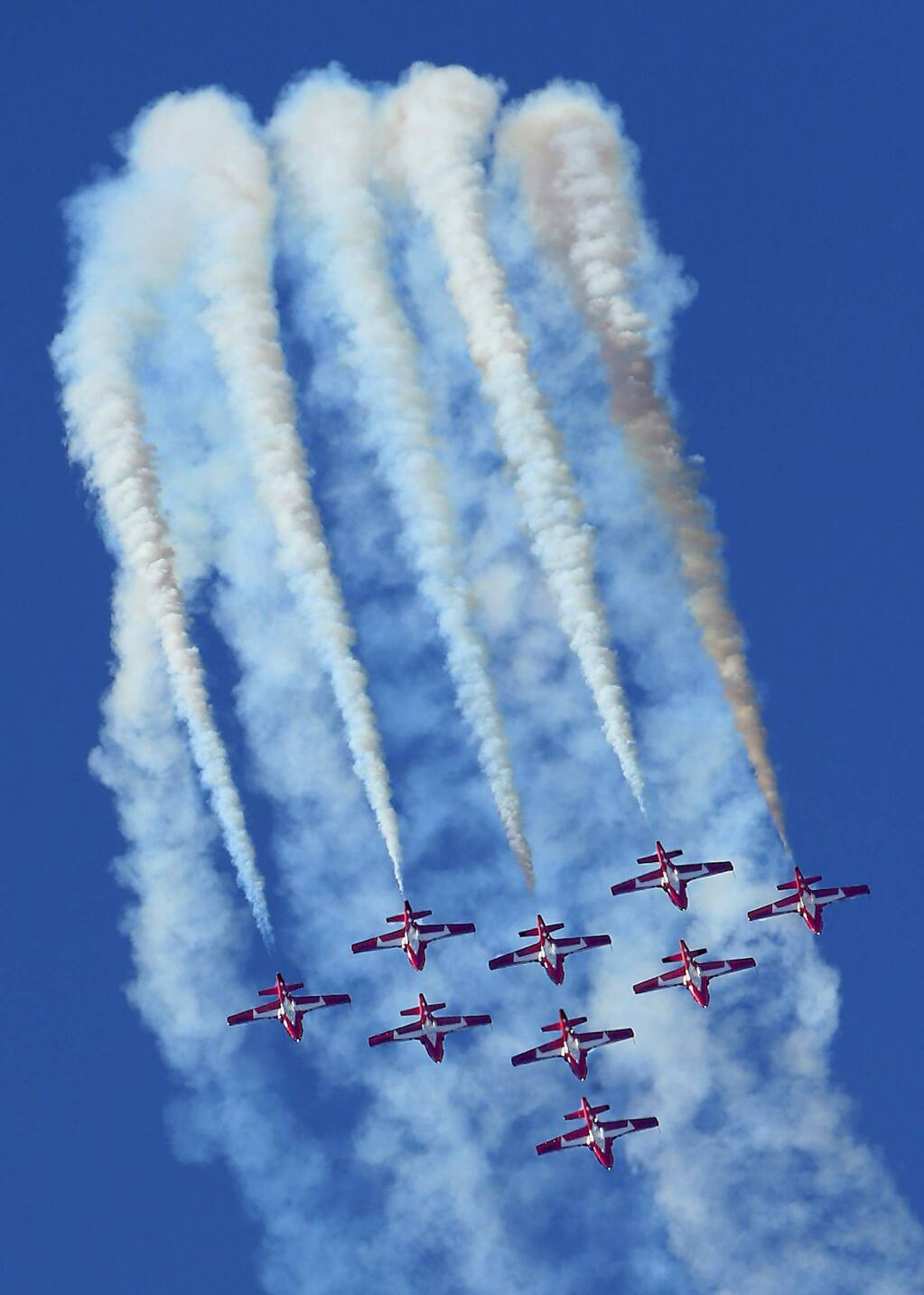 The Canadian Forces Snowbirds in formation for the finale at the Wings Over Wine County Airshow 2015 at the Charles M. Schulz Sonoma County Airport on Saturday. (JOHN BURGESS / The Press Democrat)