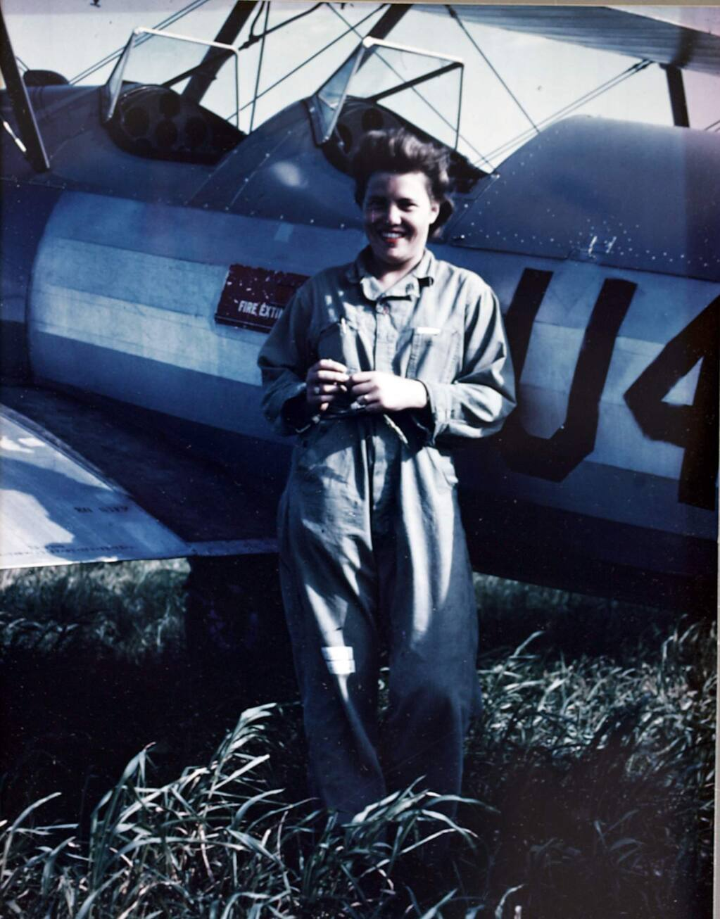 Florence Wheeler with her PT Stearman during training in Texas in 1944.