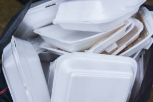 Polystyrene foam containers are slow to degrade compared to compostable items.