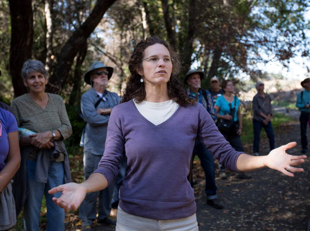 Caitlin Cornwall, shown here in 2018 speaking about fire recovery at Sugarloaf Ridge State Park, led the Sustainable Sonoma project on affordable housing that resulted in the recent 'Homes for a Sustainable Sonoma Valley.' (Photo by Darryl Bush / For The Press Democrat)