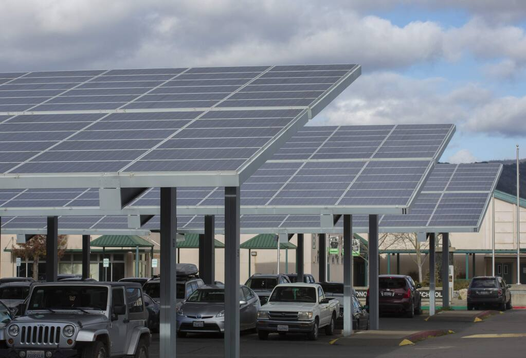 The solar panels that cover the parking lot at Sonoma Valley High School on Broadway will help power a potential micro grid. (Photo by Robbi Pengelly/Index-Tribune)