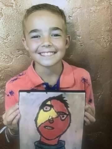 Waylon Jones, a Santa Rosa native born with cystic fibrosis, poses with the self-portrait he created. (Keegan family)