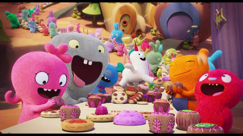 In the town of Uglyville, weird is celebrated, strange is special and the free-spirited Moxy (Clarkson) and her UglyDoll friends live every day in a whirlwind of bliss -- until they take a journey beyond the comfortable borders of Uglyville andl confront what it means to be different in 'Ugly Dolls.' (STXfilms)