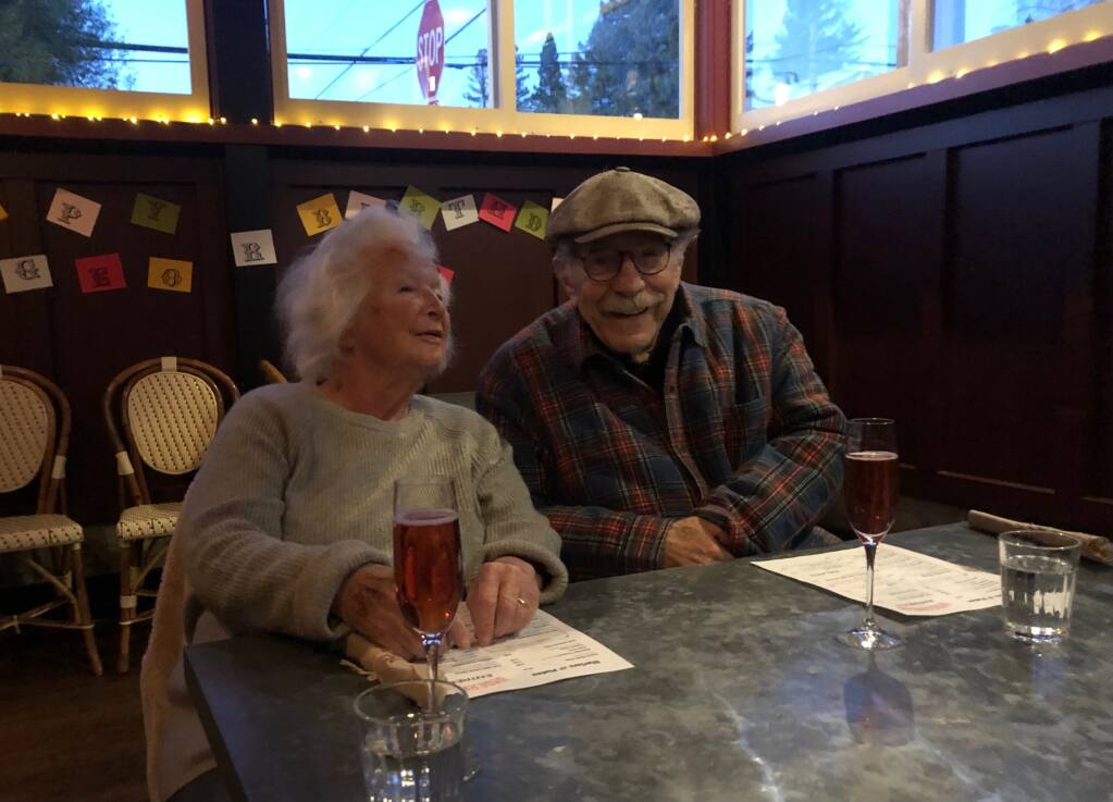 Sonia and George Segal celebrate the actor's 87th birthday Feb. 13, 2021, on the side patio at Matthew Greenbaum's Underwood Bar and Bistro. (Matthew Greenbaum)