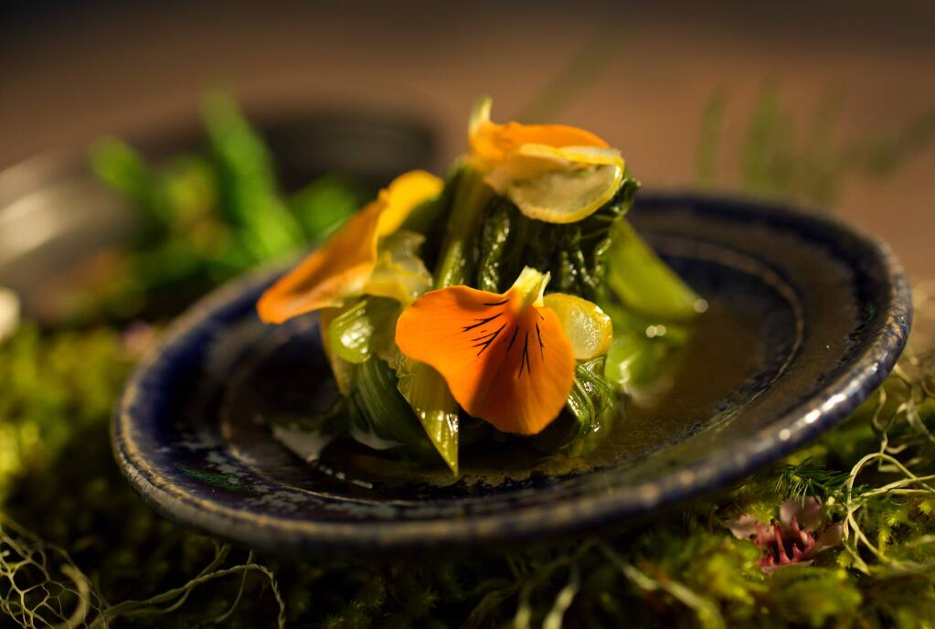 The Mid Winter in Sonoma County includes Chingensai Dashi with Meyer Lemon from Single Thread Farms Restaurant in Healdsburg. (John Burgess/The Press Democrat)