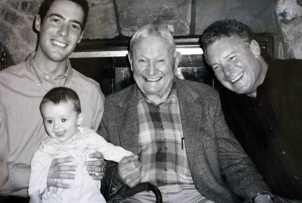 (l to r) Clover Stornetta Farms president Marcus Benedetti, his son Jack, company founder Gene, and Dan from a four generation photo from 2006.