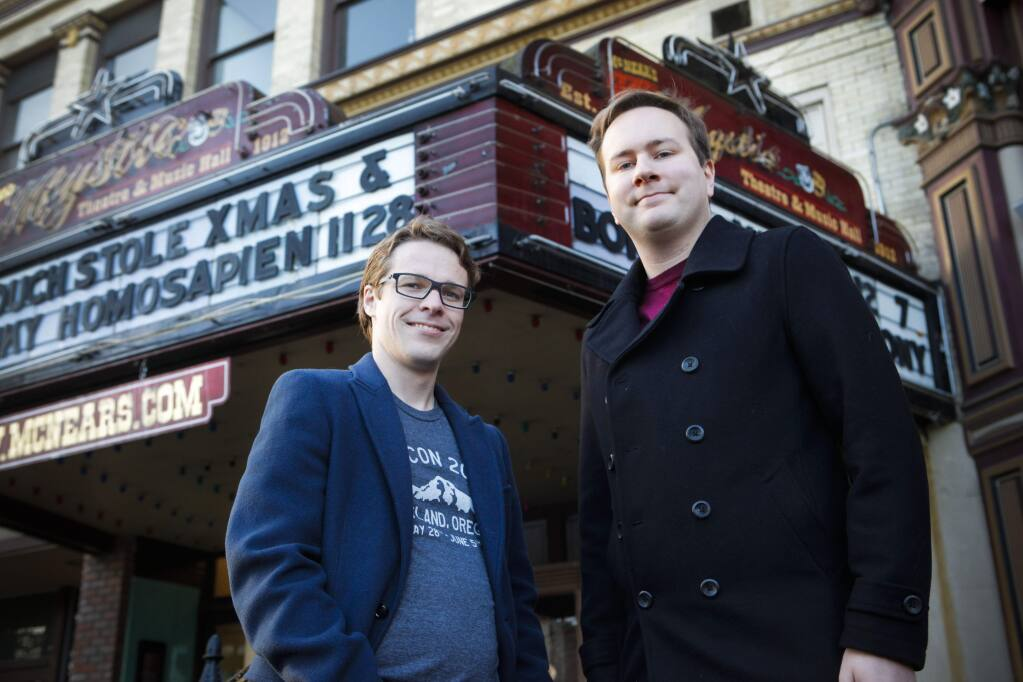 Petaluma, CA, USA. Monday, November 27, 2017._ Josh Simmons and Christopher Neugebauer are the organizers for North Bay Python which will take place for three days in Petaluma at the Mystic Theater. (CRISSY PASCUAL/ARGUS-COURIER STAFF)