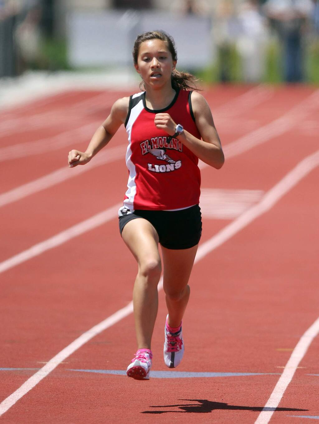 El Molino's Nicole Lane came in more then 10 seconds before the rest in the 3,200-meter run with a time of 11:17.67 during the NCS track meet held at Rancho Cotate High School, May 21, 2011. (PD File)